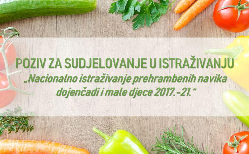 Poziv za sudjelovanje u prvom nacionalnom istraživanju prehrambenih navika dojenčadi i djece do 9 godina